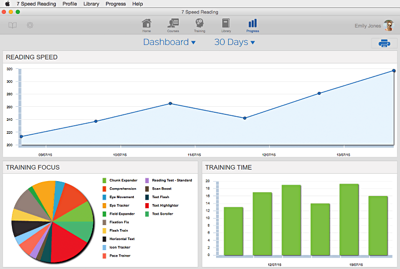 screenshot of 7SpeedReading tracking features