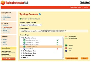 screenshot of typing instructor web