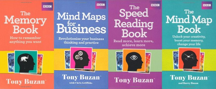 A list of 14 popular books by Tony Buzan to improve mind mapping, speed reading, memory and creativity skills.